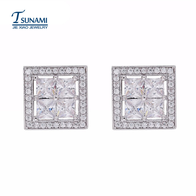 Luxury Four Colors Square Cubic Zirconia Earrings High Quality Women S Fashion Jewelry The Trend Of