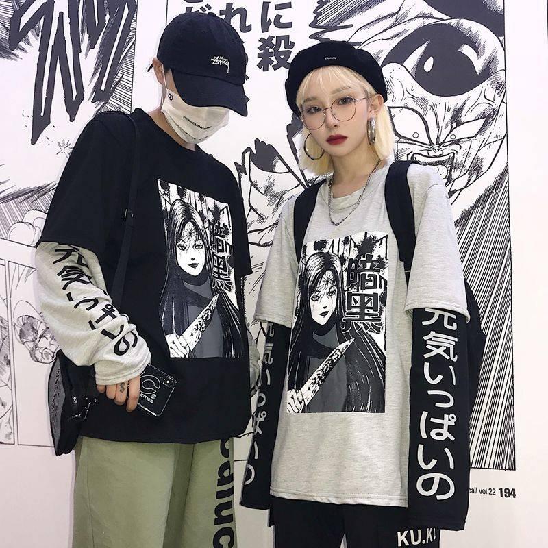 Harajuku Tshirt Streetwear Hip Hop T-shirts Men Women Autumn Amine T Shirt Funny Long Sleeve Loose T Shirt Japan Cartoon T Shirt