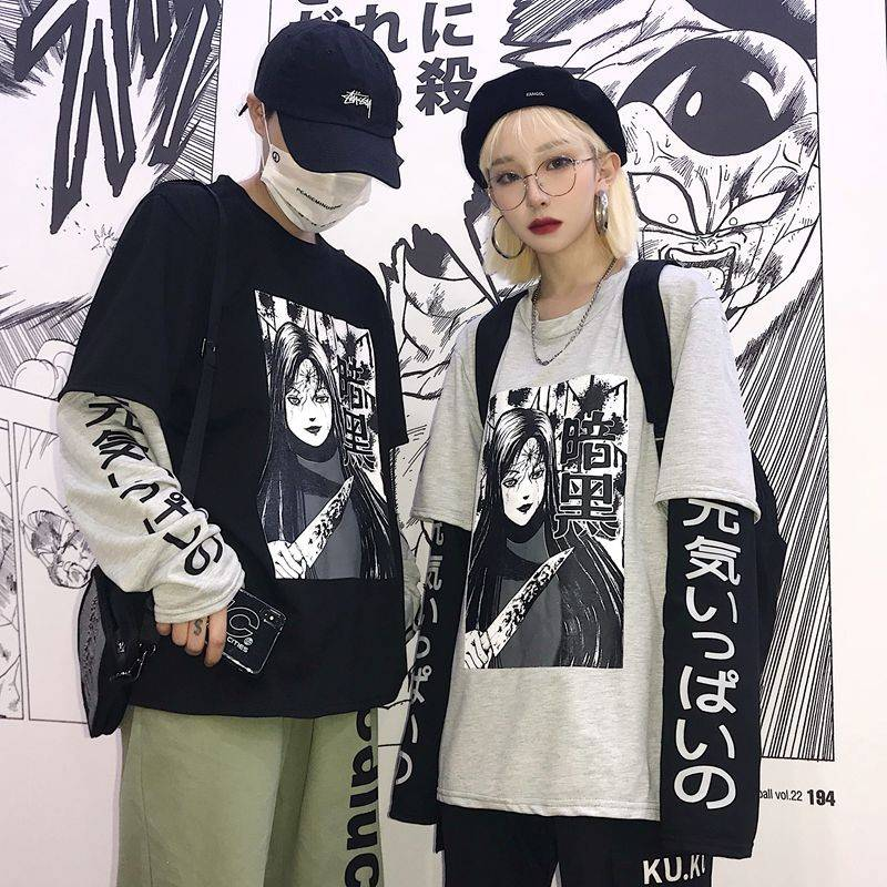 Harajuku Tshirt Streetwear Hip Hop   T  -  shirts   Men Women Autumn Amine   T     Shirt   Funny Long Sleeve Loose   T     Shirt   Japan Cartoon   T     shirt