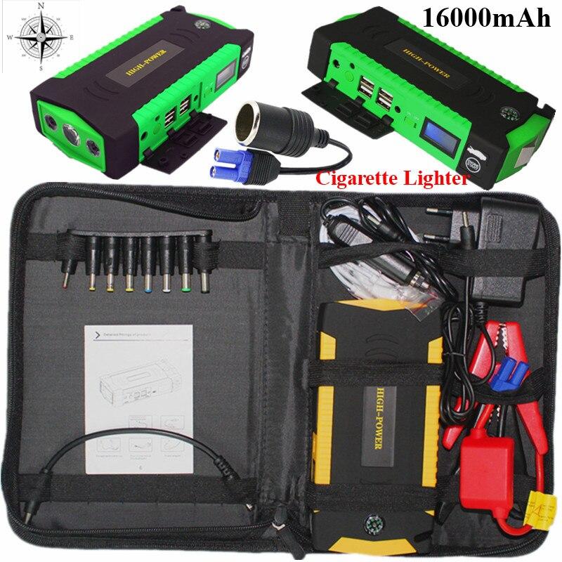 Мини пусковое устройство 16000 мАч автомобиль скачок стартер 12 В 600A Портативный автоматический стартер Мощность Bank автомобилей Зарядное устройство для автомобиля батарея Booster светодио дный