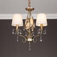 American Style Iron Crystal Chandelier European Style Garden Dining Room Lamp Study Light Bedroom Lamp