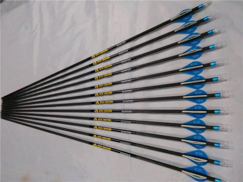 12pcs 32 Spine 340 Pure Carbon Arrow 2 Blazer Plastic Vane Compound traditional Bow hunting and shooting free shipping wholesale archery equipment hunting carbon arrow 31 400 spine for takedown bow targeting 50pcs