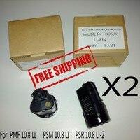 2PCS LOT Replacement Battery For Bosch Li Ion 10 8V 1 5Ah PMF 10 8 LI