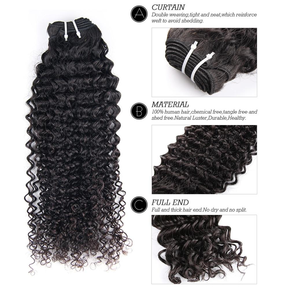 Flokët e Bukura të Bukura Afro Kinky Kaçurrelë Remy Flokët - Flokët e njeriut (të zeza) - Foto 2