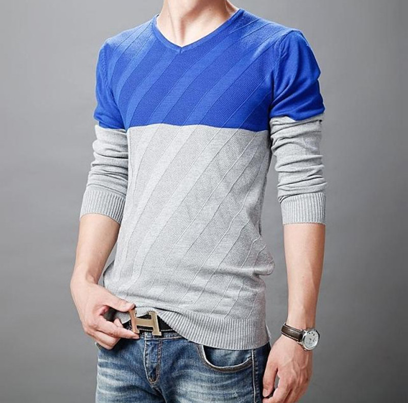 The New 2015 Mens knitted Sweater Fashion Long-Sleeved V-neck Men Stripe Unlined Upper Garment Big Yards Free Shipping