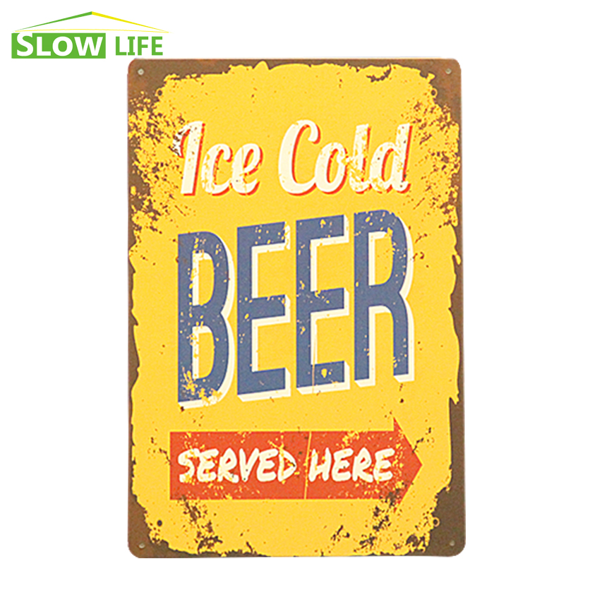 Ice Cold Beer Here Metal Tin Sign Bar/Pub/Hotel Wall Decor Metal ...