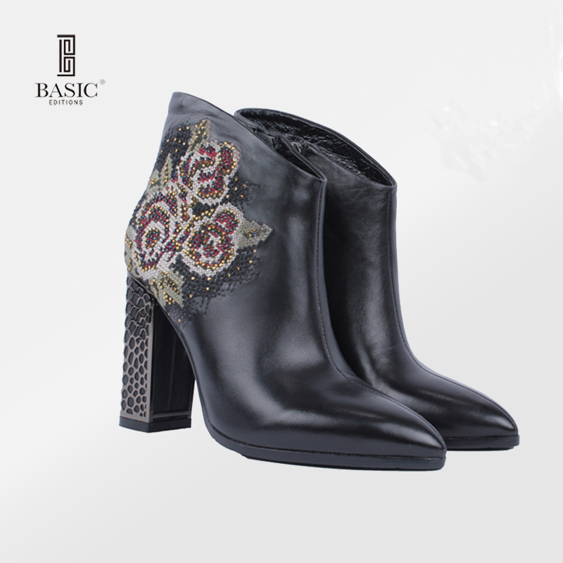 Basic Editions Spring Autumn Women Ankle Short Boots Pointed Toe High Heel Genuine Leather Rhinestone Embroidery - B2102-4R-29 basic editions women dark grey suede leather spike high heel chain accessories winter long boots 1105 1422 aj91