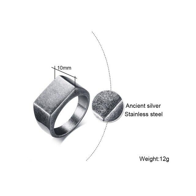 Купить мужское классическое кольцо из нержавеющей стали серое 10 мм