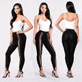 2017 Sprig Summer Women Sexy Lace Up Hollow Out Leggings Female Black White High Waist Skinny Cross Bandage Pants