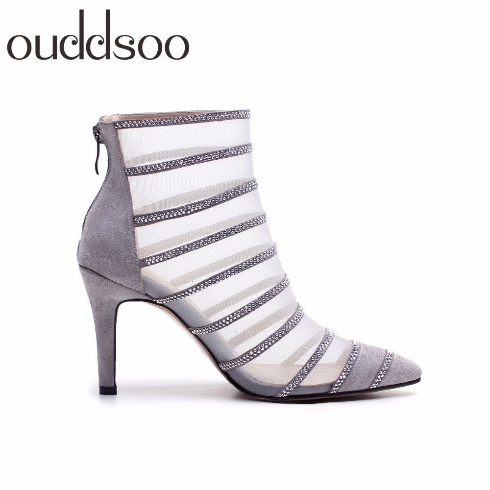 Sexy Black Mesh Patchwork Ladies Cut Out Style Gladiator Summer Ankle Boots For Women High Heels Pointed Toe Crystal Dress Shoes