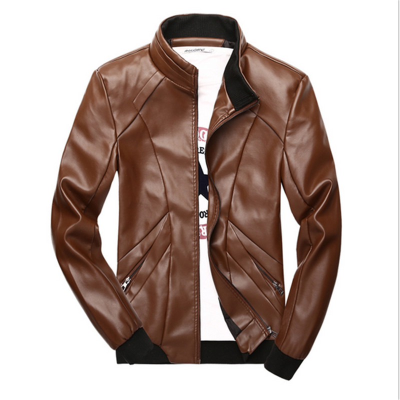 Spring Casual PU Coat outwear Stand Collar Men Solid Slim Leather jacket Faux Fur Fit Youth Motorcycle chaqueta de cuero
