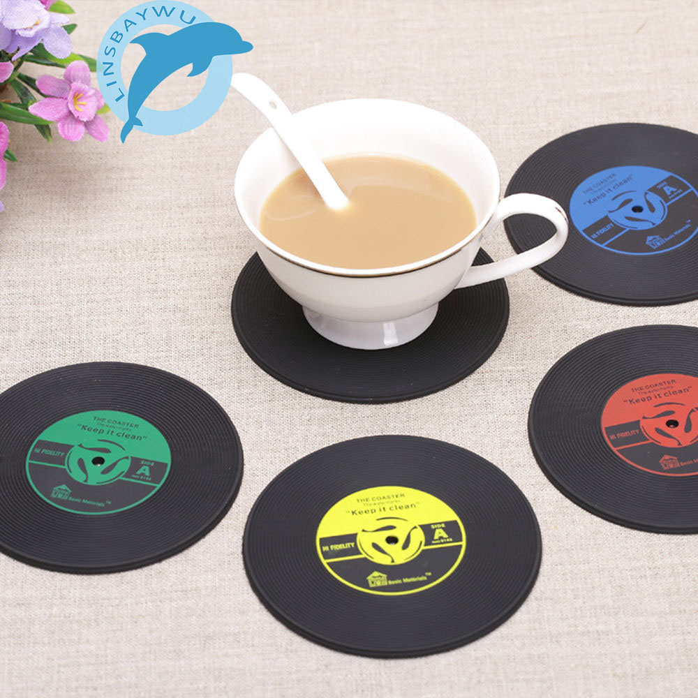 4Pcs/set Retro Vinyl Drinks Coasters Table Cup Mat Home Creative Decor CD Record Coffee Drink Placemat Tableware Spinning