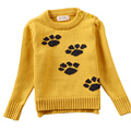 2017 New Children Sweater Cartoon Footprint Girls Sweater Knitwear Autumn Infant Sweater Kids Clothing Tops Blouses coat