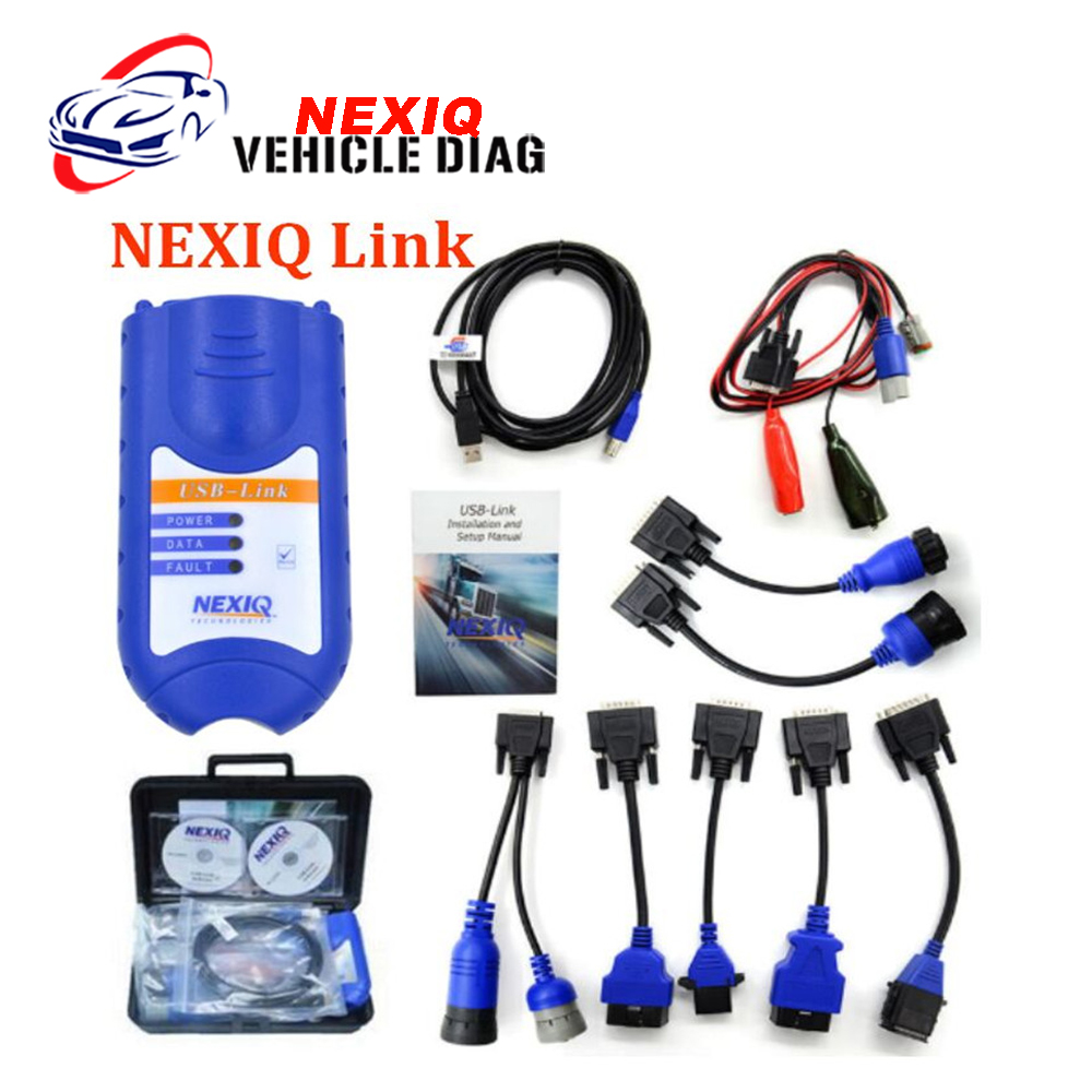NEXIQ 125032 USB Link with plastic case and Software Diesel Truck Diagnostic TOOL NEXIQ USB Link with All Adapters Free Shipping  цены
