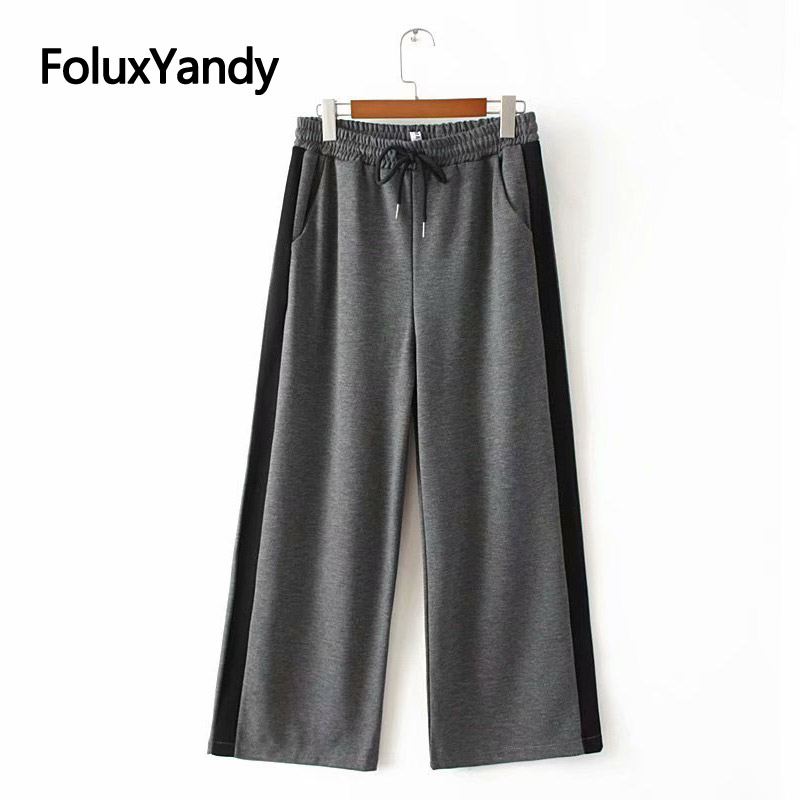 Thick Winter   Pants   Plus Size XXXL 5XL Casual Loose Stretched   Wide     Leg     Pants   Black Gray Trouses KKFY2960