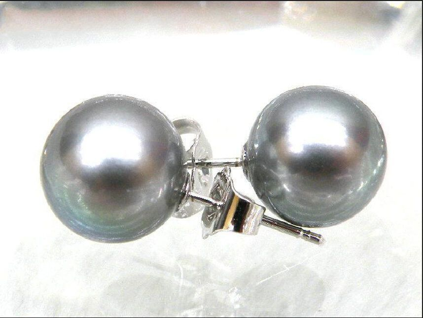 8-9mm AAA+++ Perfect Round Gray South Sea Pearl Earring 14K/20 White Gold8-9mm AAA+++ Perfect Round Gray South Sea Pearl Earring 14K/20 White Gold