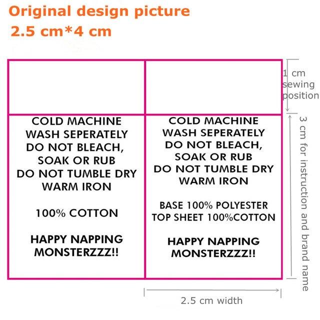1000 pz Personalizzato le vostre istruzioni nastro di raso panno di  lavaggio tag etichetta di cura 8e467bc1fc0