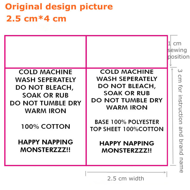 Custom Your Instructions Satin Cloth Washing Labels Dress