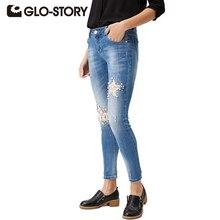 Glo-story 2017 звезда шаблон джинсы для женщин звезды тощий тонкий ближний талии бисером кружево стрейч тонкий брюки wnk-4116