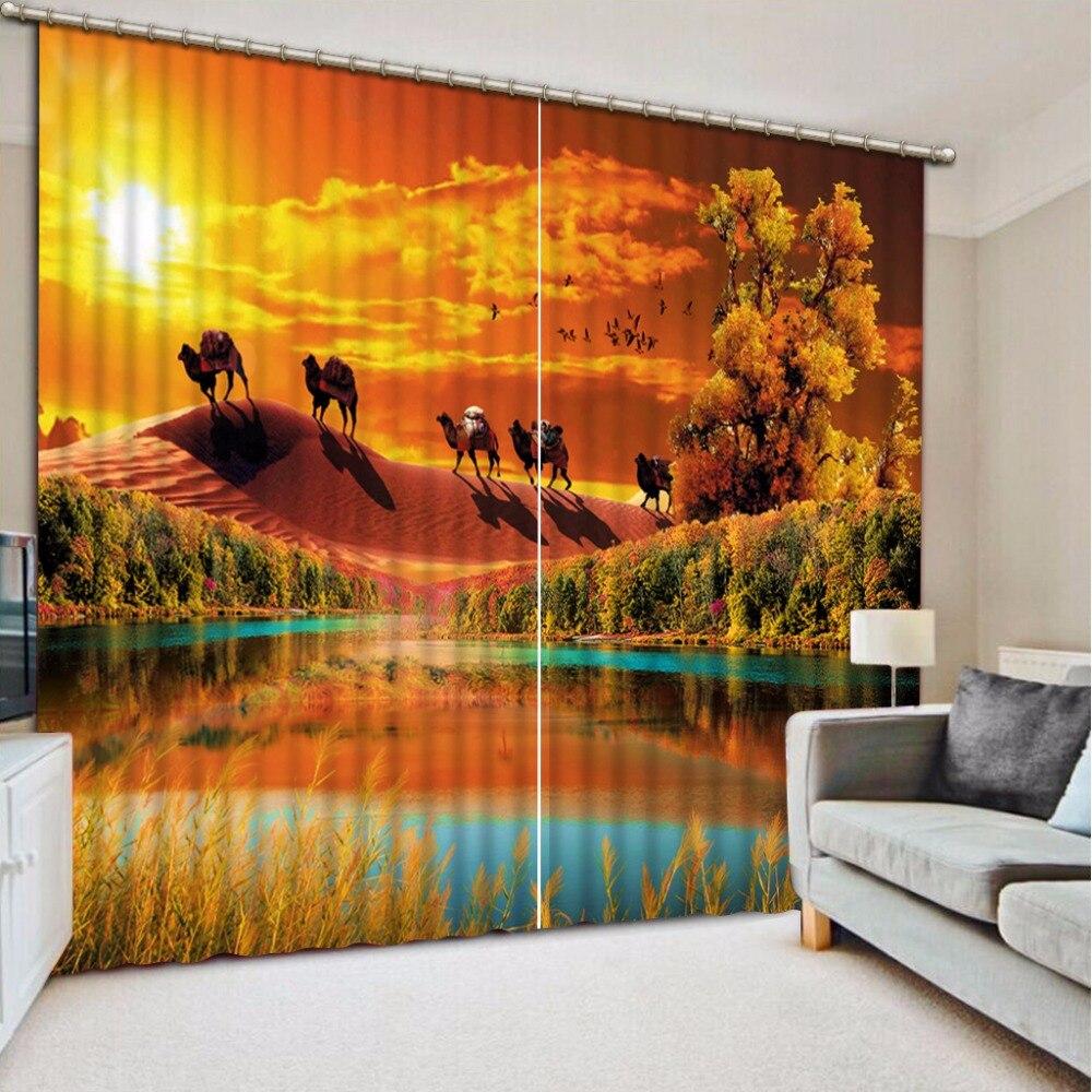 3D rideaux étang beau paysage rideaux pour enfants chambre salon chambre l'animal désert occultant rideaux