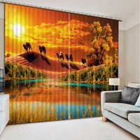 3D Curtains Pond beautiful landscape Curtains For Children Room Living Room Bedroom The animal desert Blackout Sheer Curtains