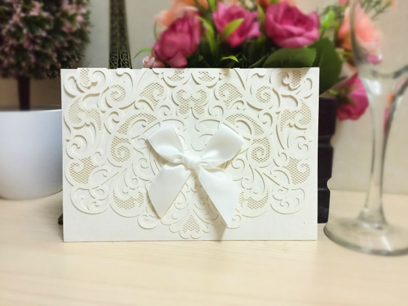 Us 1 68 1 Pcs Sample Tri Fold Ribbon Decorating Laser Cutting Wedding Invitation Card Wedding Party Invited Greeting Cards For Guest In Cards