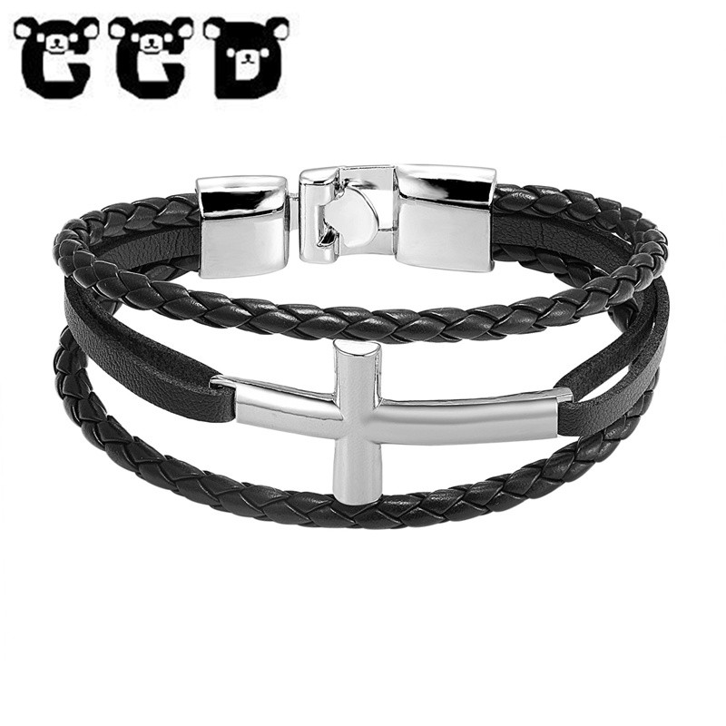 Helpful Classic Male Jewelry Cross Bracelet Men Stainless Steel Anchor Charm Bracelet Double Layer Leather Wrap Bracelets For Man Pw781 We Take Customers As Our Gods Jewelry & Accessories