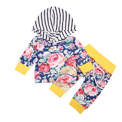 Newborn Baby Girls Hoodie Autumn Clothes Striped Hooded Tops +Pants Home Outfits 2Pcs Set 0-24M