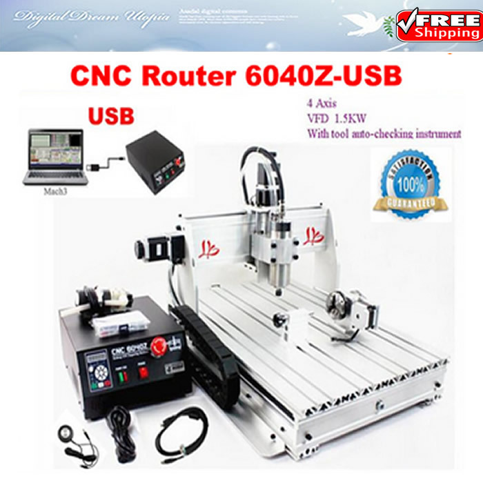 Free shipping! cnc stone sculpture machine 6040 Z-USB 4 axis 1.5KW VFD spindle,Mach3 manual USB port cnc woodworking machine