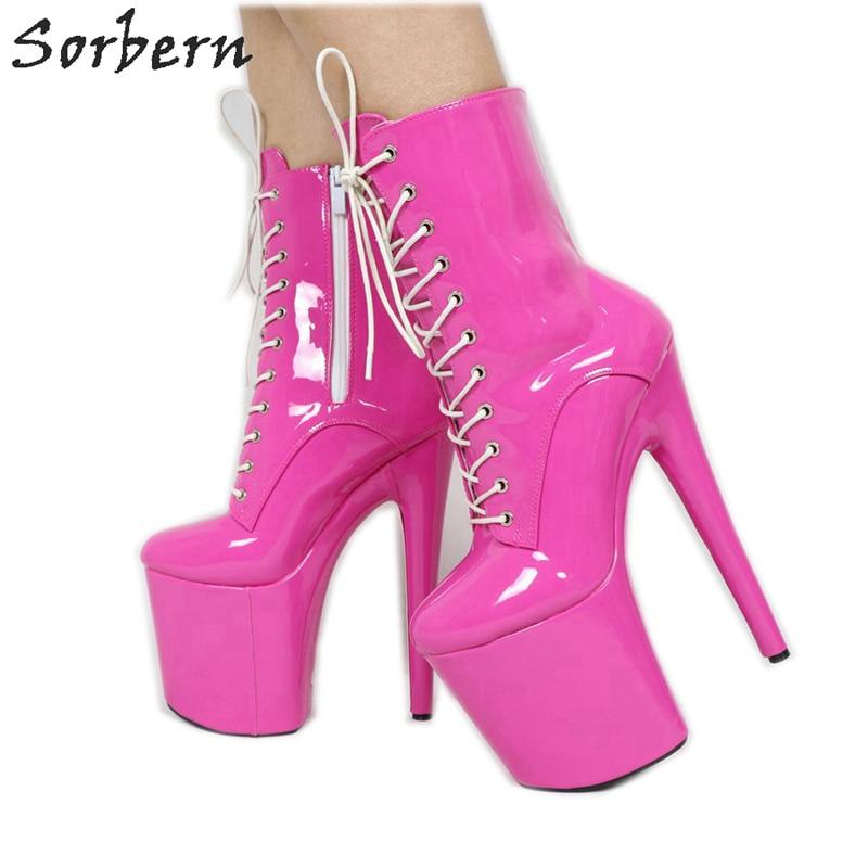 Sorbern Hot Pink Mid Calf Boots Women Custom Wide Calf Runway Show Boot Art Performance Shoes