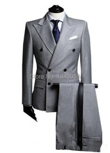 New Custom Made Fashion Men's Gray Double Breasted Suit Business Mens Suits Wedding Groom (Jacket+Pant+Tie)