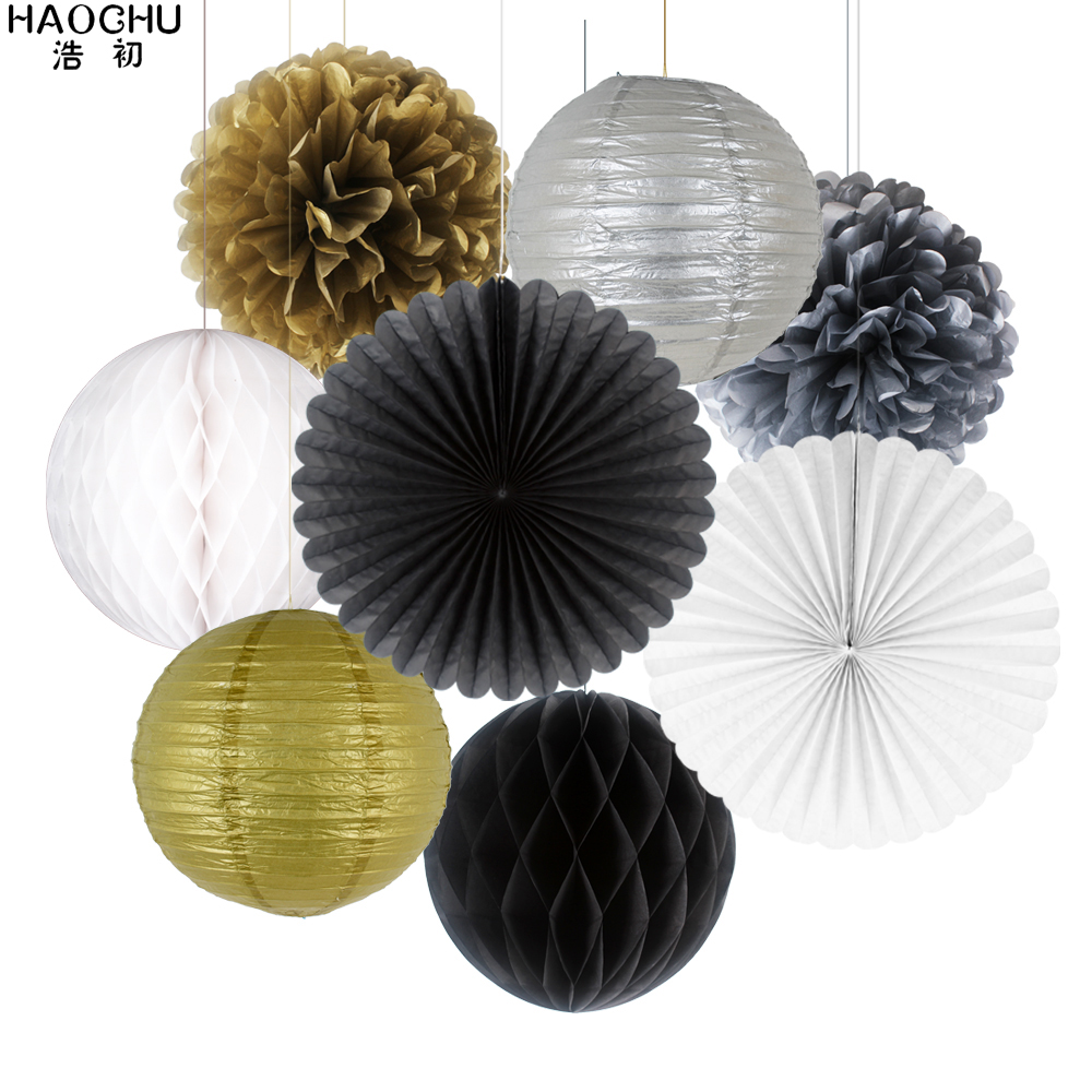 8pcs/Set Round Chinese Paper Lanterns Gold Silver Tissue Paper Honeycomb Balls Wedding Flower Birthday Party Hanging Decorations