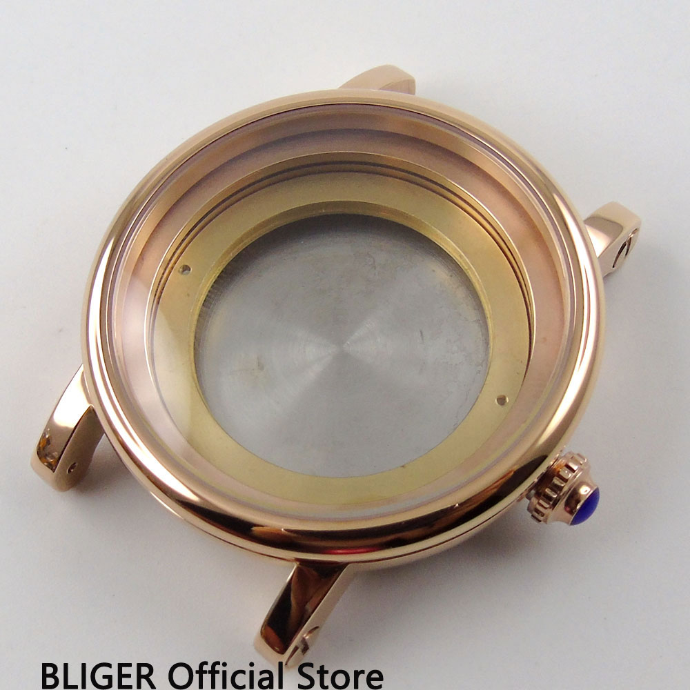 лучшая цена 43mm BLIGER top quality rose golden 316L stainless steel watch case kit fit ETA 2824 2836 movement CA78