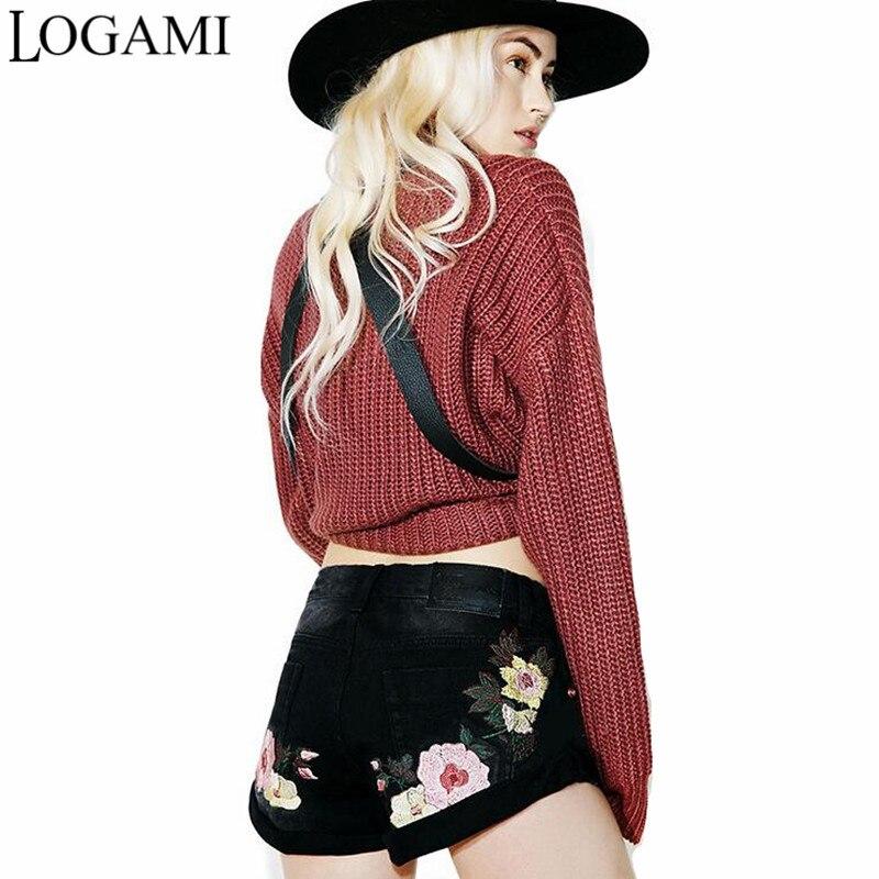 buy logami flower embroidery shorts jeans. Black Bedroom Furniture Sets. Home Design Ideas