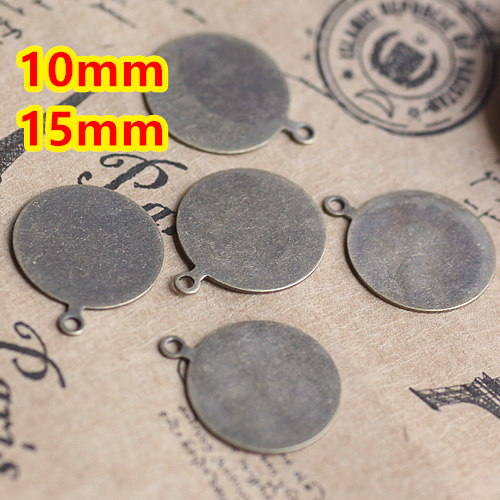 Copper 10mm,14mm 200pcs Antique Bronze Flat pad Blank Pendant Glass Trays Bases Cameo Glass Cabochon Setting for Glass/Stickers