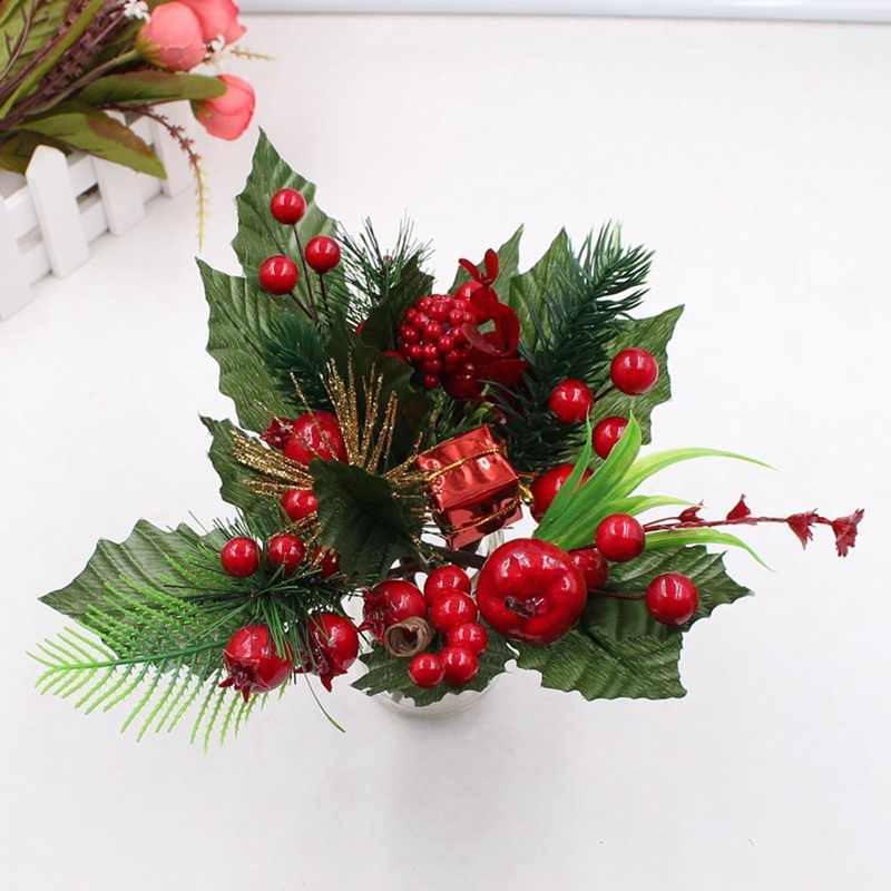 1pc Artificial Flower Red Pearl Stamen Berries Branch For Wedding Christmas Decoration DIY Valentine's Day Gift Box Craft Flower