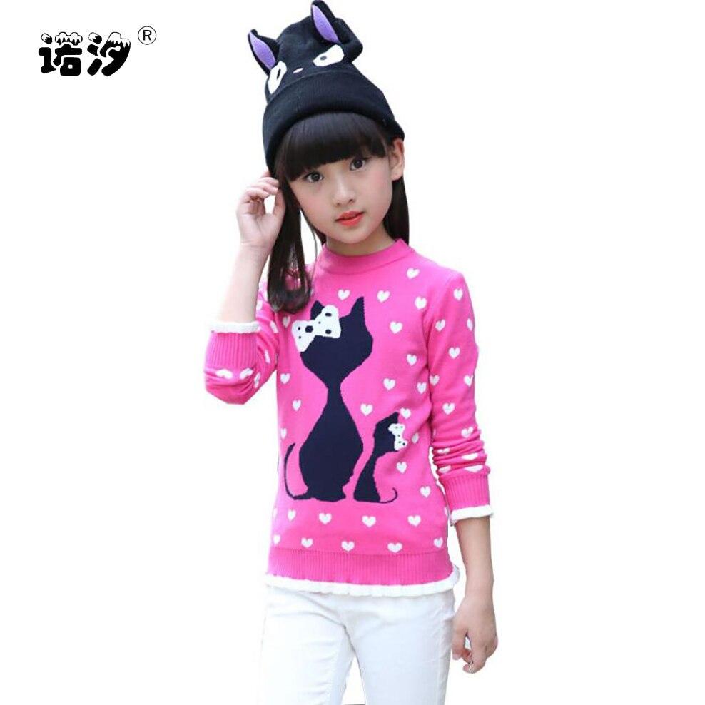 Girls Winter Velvet Sweater Kids Warm Pullovers Plush Inside Knitted Sweaters Loose Jacket 4-13T Teenage Cartoon O-neck Sweaters