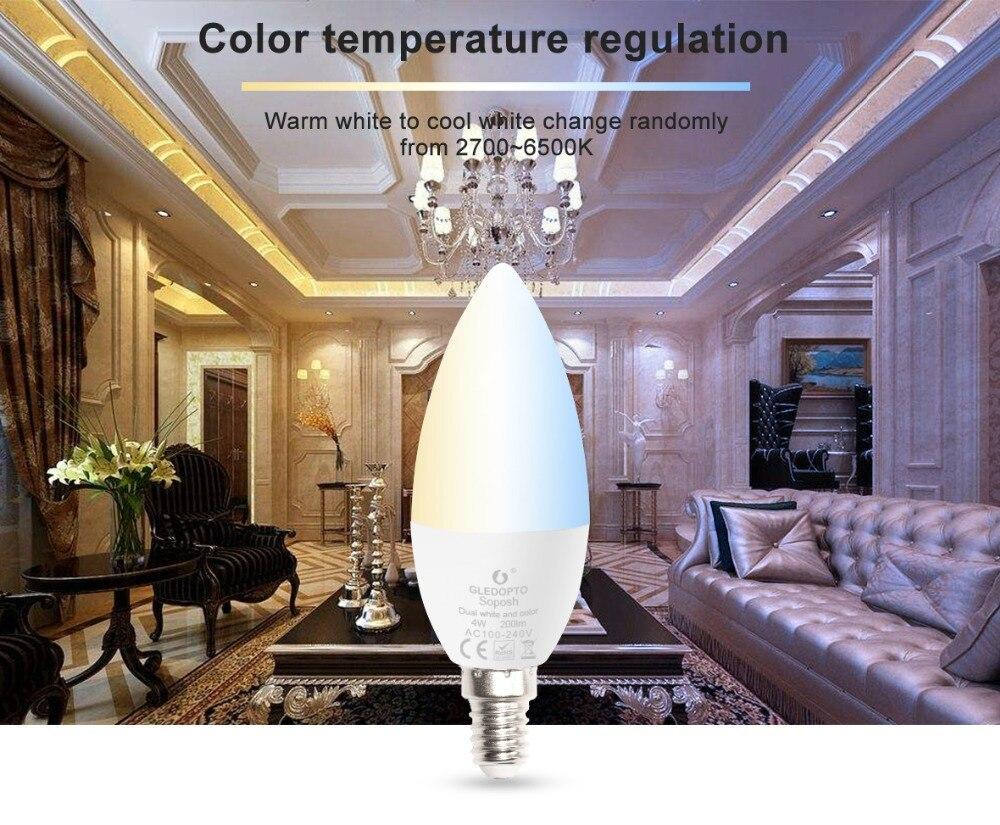 Купить с кэшбэком Zigbee hub led 4W candle light bulb rgb/rgbw/rgbww/cw smart APP control AC100-240V E12/E14 wotk with amazon echo plus