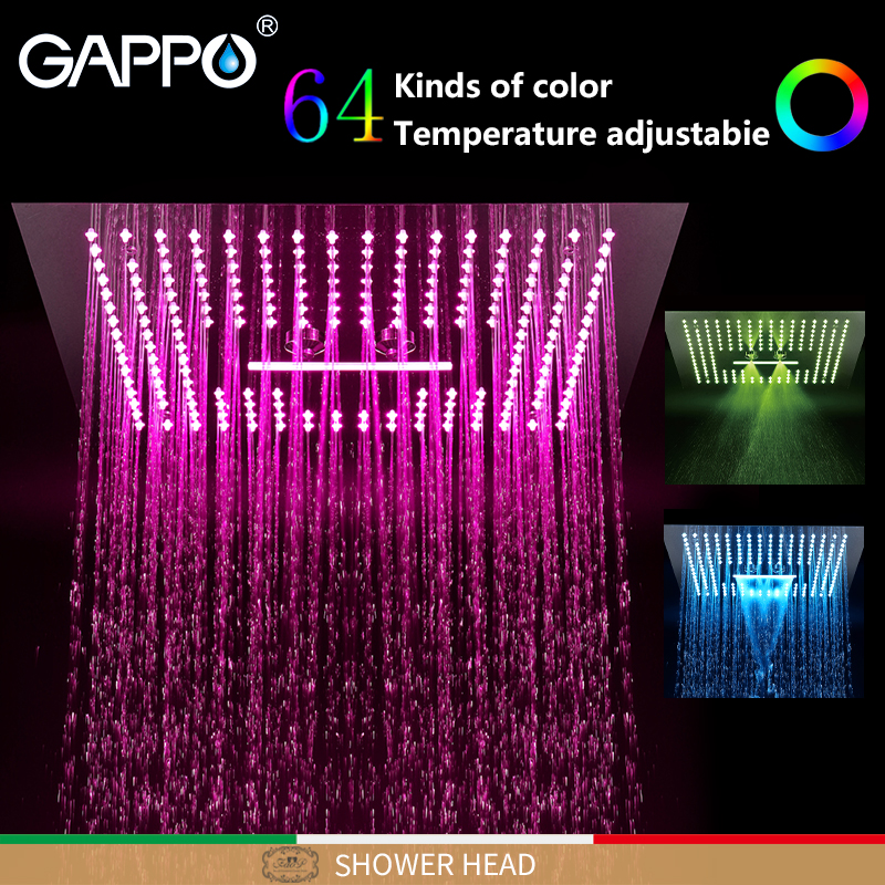 GAPPO насадки для душа головки для душа черный квадратный смеситель для ванной комнаты миксер светодиодный кран 3 fauction смесители для душа