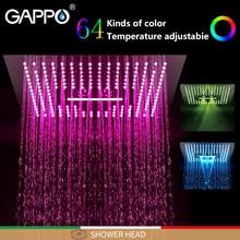 GAPPO Shower heads Rainfall shower heads black square bathroom faucet mixer LED Light faucet 3 function shower faucets смеситель gappo g4390 3