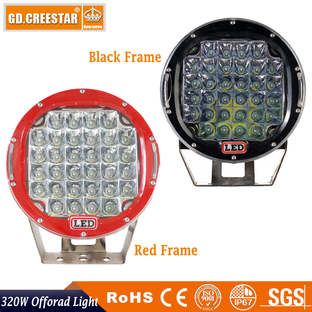 320w 9inch Red Black round led driving light Work light for Truck,SUV,ATV,UTV ,4WD,4x4,External Good Night Lights freecover x1pc