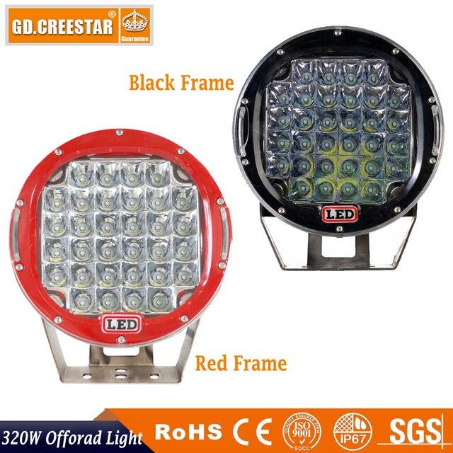 320w 9inch Red Black round led driving light Work light for Truck,SUV,ATV,UTV ,4WD,4x4,External Good Night Lights freecover x1pc