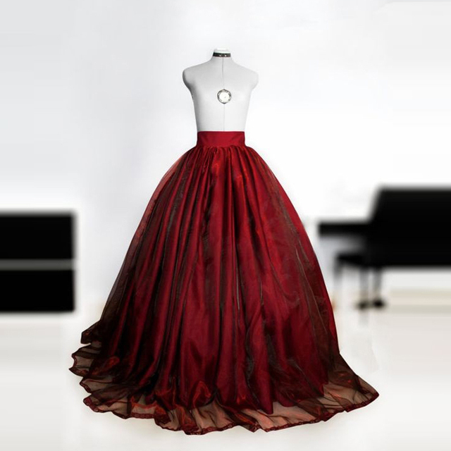 c4148ba879d1 Burgundy Royal Vintage Style Women Ball Gown Skirts for Formal Occasion  Custom Made within Petticoat Zipper Waist Vestidos Saias
