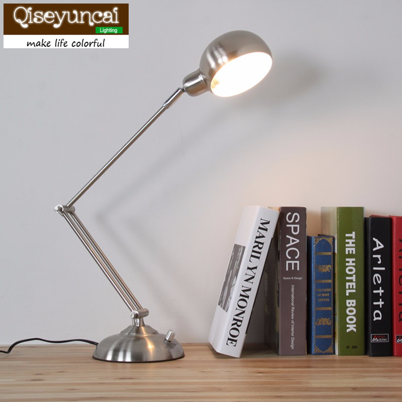 Qiseyuncai High quality metal long arm folding LED desk lamp   the bedroom study office that shield an eye dimming desk lamp american creative fashion led the study bedroom mirror before the long arm of the head of a bed wall lamp wrought iron long arm