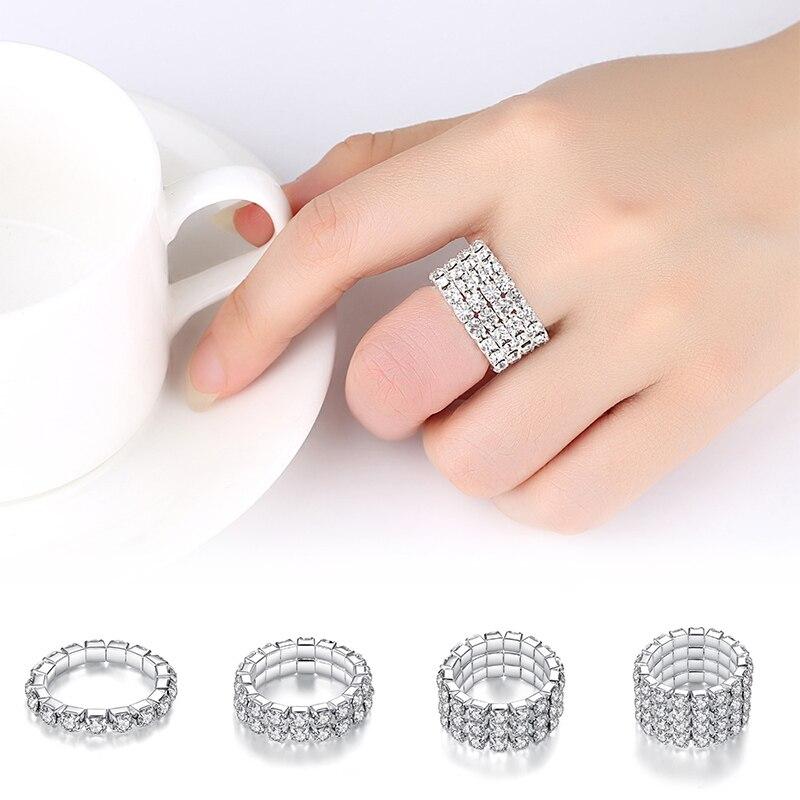 1 St Zilver Kleur Prachtige Mode Vierkante Bruiloft Engagement Verstelbare Ring Zirconia Sieraden Allergievrij