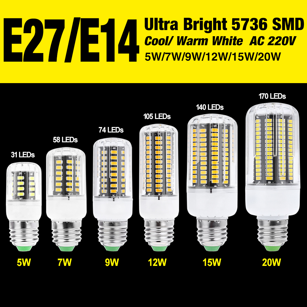 4x E27 LED Lamp 220V SMD 5736 E14 LED Light 31 58 74 105 140 170 LEDs Corn Bulb Chandelier For Christmas Home Lighting LED Bulb