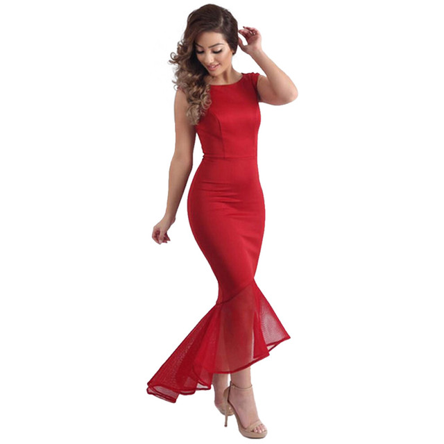 7754a5c357c07 US $15.83 12% OFF|2016 Sexy Elegant Red Party Dresses Women Party Solid  Dress New Summer Lady Wear Slim Vestidos Femininos-in Dresses from Women's  ...