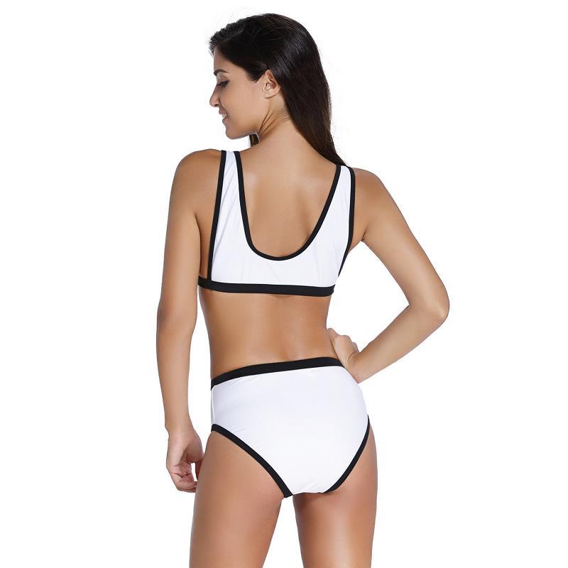 636d454c12 2018 Scoop Neck High Waist Swimwear White High Cut swimsuit Front Lacing  Long Line Surf Bralette Brazilian Bikini Bottoms-in Bikinis Set from Sports  ...