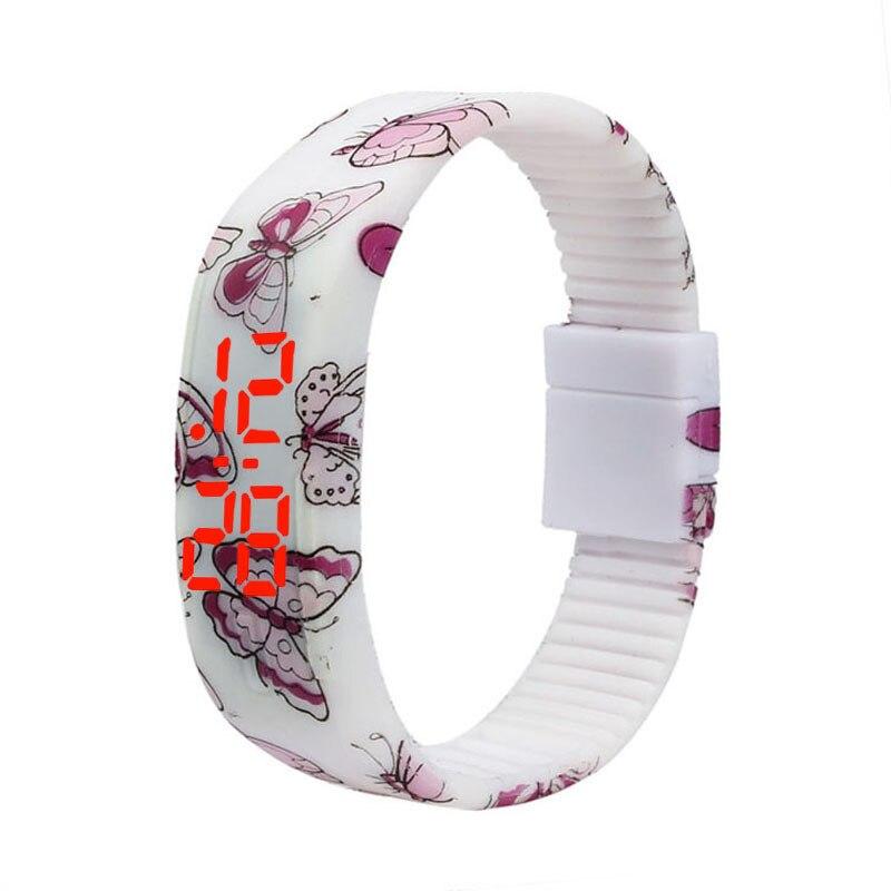 New Design Ultra Thin Butterfly Print Men Girl Women Sports Jogging Watch Silicone Digital LED Bracelet Wrist Watch Wristwatch 2016 new arrival ultra thin fashion brand women men sports watch silicone wristwatch digital led watches
