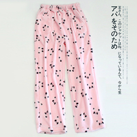 Flannel Cartoon Panda Coral Velvet Sleep Bottoms Women Sheer Pants Winter Thicken Keep Warm Pijama Pants